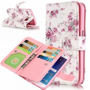 9 Card Slots Embossing Wallet Leather Cover for Samsung Galaxy S6 Edge G925 - Blossom