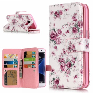 9 Card Slots Embossed Stand Leather Flip Case for Samsung Galaxy S7 Edge G935 - Roses
