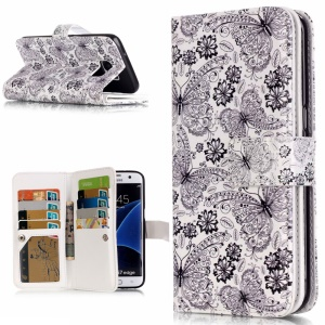 9 Card Slots Embossed Stand Leather Case for Samsung Galaxy S7 Edge G935 - Butterfly and Flower