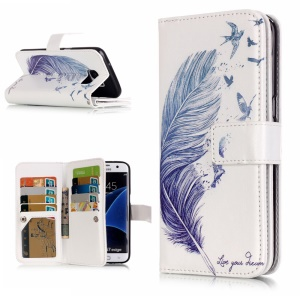 9 Card Slots Embossed Stand Leather Case for Samsung Galaxy S7 Edge G935 - Feather and Birds