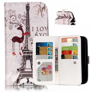 9 Card Slots Embossed Leather Stand Cover for Samsung Galaxy Grand I9080 I9060 - Eiffel Tower and Elk