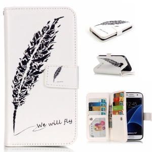 9 Card Slots Embossing Leather Phone Case for Samsung Galaxy S7 G930 - Black Feather