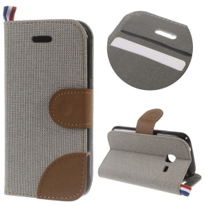 Denim Fabric Skin Leather Card Holder Case for Samsung Galaxy J1 Mini - Grey
