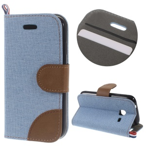 Denim Fabric Skin Leather Stand Flip Cover for Samsung Galaxy J1 Mini - Baby Blue