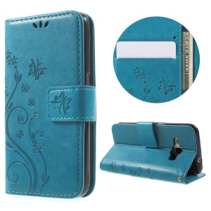 Imprint Butterfly Wallet Leather Flip Case for Samsung Galaxy J1 (2016) - Blue