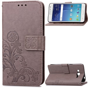 Flowers Pattern Leather Wallet Cover for Samsung Galaxy Grand Prime SM-G530 - Grey