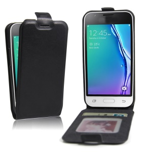 Crazy Horse Vertical Card Holder Leather Case for Samsung Galaxy J1 Mini - Black