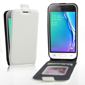 Crazy Horse Vertical Card Holder Leather Cover for Samsung Galaxy J1 Mini - White