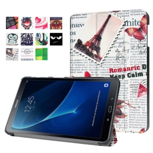 Patterned Leather Stand Case for Samsung Galaxy Tab A 10.1 (2016) T580 T585 - Eiffel Tower