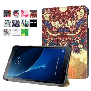 Patterned Leather Case for Samsung Galaxy Tab A 10.1 (2016) T580 T585 - Retro Flower Pattern