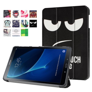 Patterned Leather Smart Case for Samsung Galaxy Tab A 10.1 (2016) T580 T585 - Warning Words