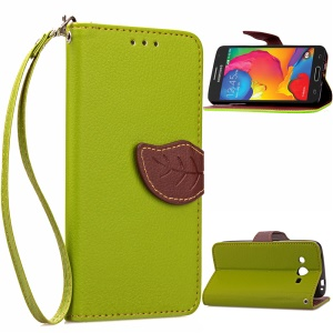 Leaf Leather Wallet Card Holder Cover for Samsung Galaxy Core LTE G386F - Green