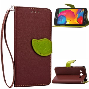 Leaf Leather Cover with Wrist Strap for Samsung Galaxy Core LTE G386F - Brown
