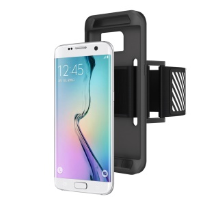Silicone Cover Sports Armband for Samsung Galaxy S7 Edge G935 with Light Reflection Stripe - Black