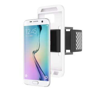 Silicone Case Sports Armband for Samsung Galaxy S7 Edge G935 with Light Reflection Stripe - White