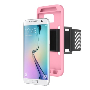 Silicone Shell Sports Armband for Samsung Galaxy S7 Edge G935 with Light Reflection Stripe - Pink