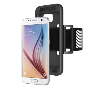 Silicone Case Sports Armband for Samsung Galaxy S7 G930 with Light Reflection Stripe - Black