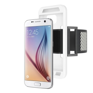 Silicone Shell Sports Armband for Samsung Galaxy S7 G930 with Light Reflection Stripe - White