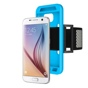 Silicone Case Sports Armband for Samsung Galaxy S7 G930 with Light Reflection Stripe - Blue