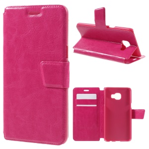 Crazy Horse Card Holder Leather Flip Shell for Samsung Galaxy C5 - Rose