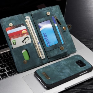 CASEME Retro Multifunctional Split Leather Wallet Case pour Samsung S7 Edge G935 - Bleu