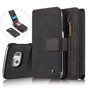 CASEME 14 Slots Wallet Detachable 2-in-1 Split Leather Case for Samsung Galaxy S6 edge G925 - Black
