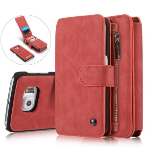 CASEME 14 Slots Detachable 2-in-1 Split Leather Wallet Cover for Samsung Galaxy S6 edge G925 - Red