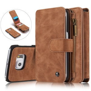 CASEME 14 Slots Brieftasche 2-in-1 PC Cover Split Ledertasche für Samsung Galaxy S6 Rand G925-Braun