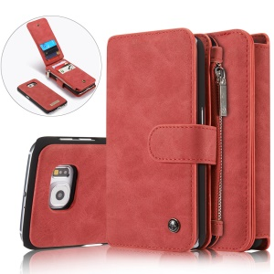 CASEME 14 Slots Detachable 2-in-1 Split Leather Wallet Case for Samsung Galaxy S6 G920 - Red