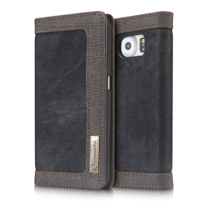 CASEME Canvas Coated Wallet Leather Stand Case for Samsung Galaxy S6 G920 - Black