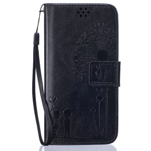 Dandelion and Lovers Wallet Leather Stand Case para Samsung Galaxy J3(2016) / J3 - negro