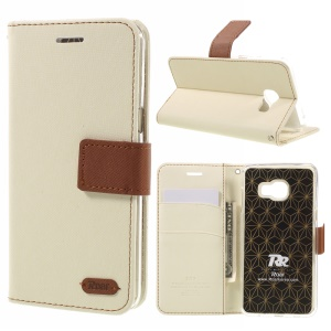 ROAR KOREA  for Samsung Galaxy C5 Twill Texture Wallet Leather Stand Case Cover - White