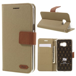 ROAR KOREA  for Samsung Galaxy C5 Twill Texture Wallet Leather Flip Cover - Khaki