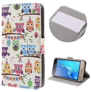 Stylish Pattern Printing Leather Wallet Stand Case for Samsung Galaxy J1 (2016) - Adorable Owls