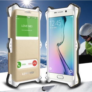 LOVE MEI MK2 Metal Silicone Shell + Leather Cover for Samsung Galaxy S6 Edge G925 - White