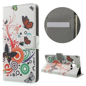 Patterned Leather Wallet Case for Samsung Galaxy J3 Pro - Butterfly and Vine