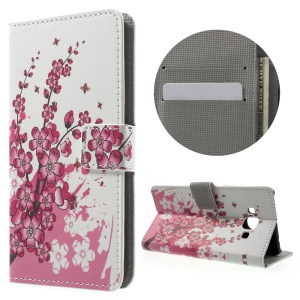Patterned Leather Card Holder Case for Samsung Galaxy J3 Pro - Plum Blossom