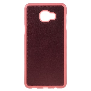 PU Leather Coated TPU Phone Case for Samsung Galaxy C7 - Wine Red