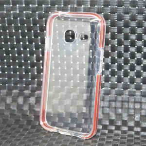 Transparent Bi-color PC TPU Hybrid Cover for Samsung Galaxy J1 Mini - Orange