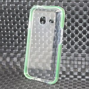 Transparent Bi-color PC TPU Hybrid Phone Cover for Samsung Galaxy J1 Mini - Green