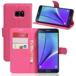 Litchi Grain Wallet Leather Flip Case for Samsung Galaxy Note6 - Rose