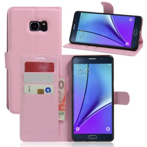 Litchi Grain Wallet Leather Phone Case for Samsung Galaxy Note6 - Pink
