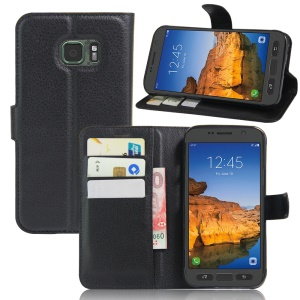 Litchi Texture Wallet Leather Stand Case for Samsung Galaxy S7 Active - Black