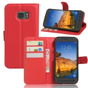 Litchi Texture Wallet Leather Stand Shell for Samsung Galaxy S7 Active - Red