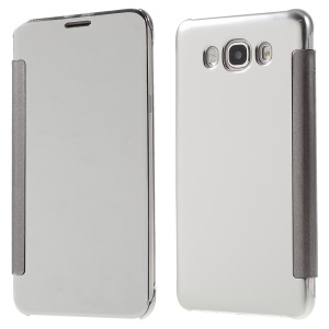Mirror -like Smart PC + Leather Flip Cover for Samsung Galaxy J7 (2016) - Silver