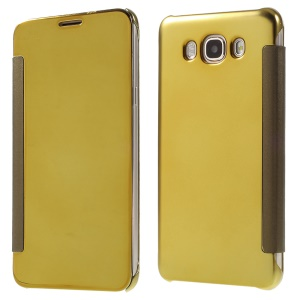 Mirror -like Smart PC + Leather Flip Phone Case for Samsung Galaxy J7 (2016) - Gold