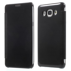 Mirror Surface PC + PU Leather Smart Case for Samsung Galaxy J5 (2016) - Black