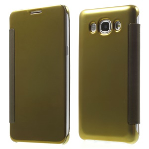 Mirror Surface PC + PU Leather Smart Phone Case for Samsung Galaxy J5 (2016) - Gold