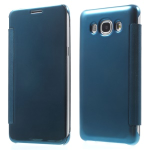 Mirror Surface PC + PU Leather Smart Phone Cover for Samsung Galaxy J5 (2016) - Baby Blue