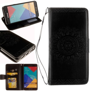 Embossing Mandala Flower Leather Card Slot Cover for Samsung Galaxy A3 SM-A310F (2016) - Black